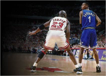 Michael Jordan wears AJ XI Space Jam Versus Orlando
